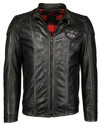 MUSTANG Chaqueta de piel para hombre con cuello redondo 31019253, color negro Negro XXXL