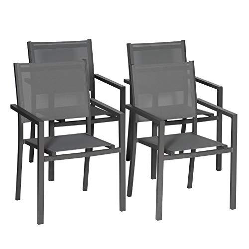 Happy Garden Lot de 4 chaises en Aluminium Anthracite - textilène Gris