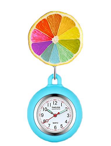 Black Temptation Reloj de Enfermera retráctil Reloj de Bolsillo con Clip portátil Reloj de Bolsillo con diseño de Dibujos Animados Lindo Reloj de Enfermera con Segunda Mano para médico, F26