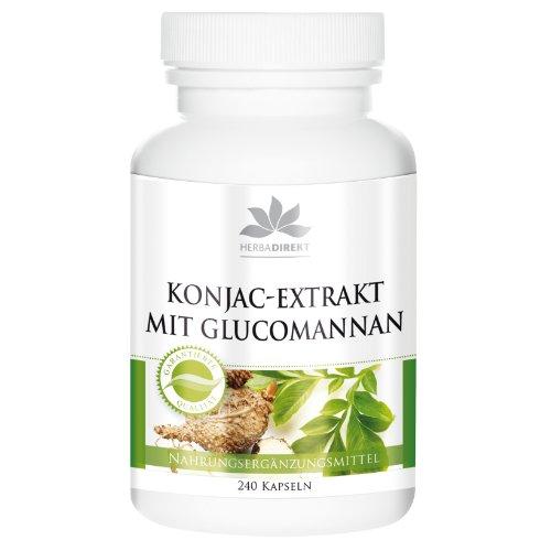 Konjakwurzel Kapseln - 95% Glucomannan - vegan - 4000mg Glucomannan pro Tagesdosis - 240 Kapseln - Hergestellt in Deutschland