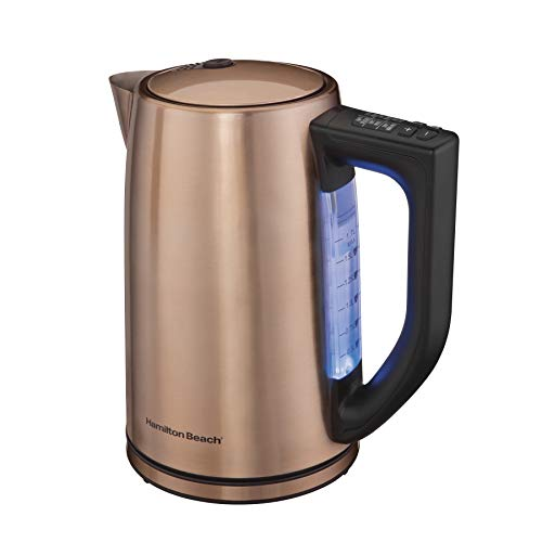 Hamiton Beach 1.7 Liter Variable Temperature Electric Kettle for Tea and Hot Water, Removable Mesh Filter, Cordless, Keep Warm, LED Indicator, Auto-Shutoff and Boil-Dry Protection, Copper (41026R)