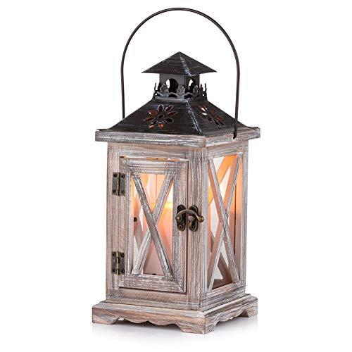 Sziqiqi Lanterne en Bois Bougeoir Vintage Lanternes à Bougie Décorative pour Rustique Mariage Centre de Table Suspendu Lanterne Ferme Décor à la Maison Intérieur et Extérieur Lanterne Décor 28cm