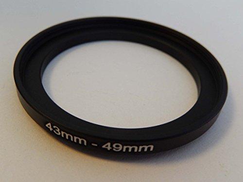 vhbw Step UP Filter-Adapter 43mm-49mm schwarz passend für Kamera Agfa, Agfaphoto, Canon, Casio, Fujifilm, Kodak, Minolta, Nikon, Olympus
