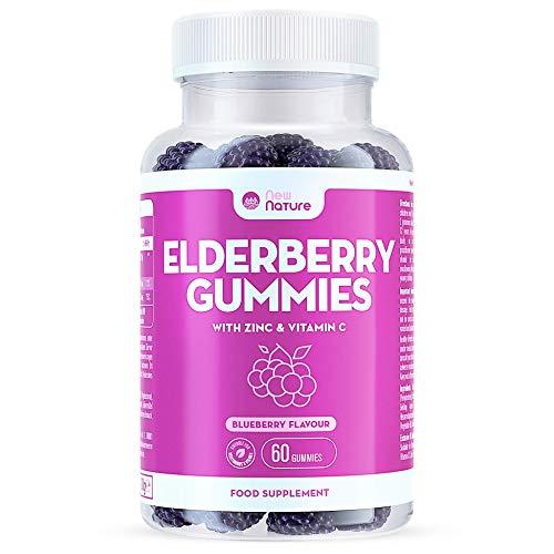 Elderberry Gummies with Zinc and Vitamin C - Suitable for Adults & Children - Zinc for Immune System - Sambucus Black Elderberry (60 Gummies) (1)