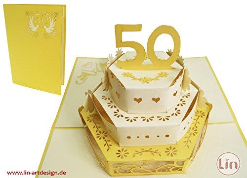 Lin - Tarjeta 3D tipo pop up para invitación o felicitación de boda, o felicitación de 50 aniversario de boda, con diseño de tarta