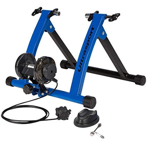 Ultrasport Rouleaux d'entraînement pour vélo avec ou sans leviers à serrage rapide, charge maximale : 100 kg, appareil d'entraînement pour vélo à l'intérieur,support de roue avant inclus