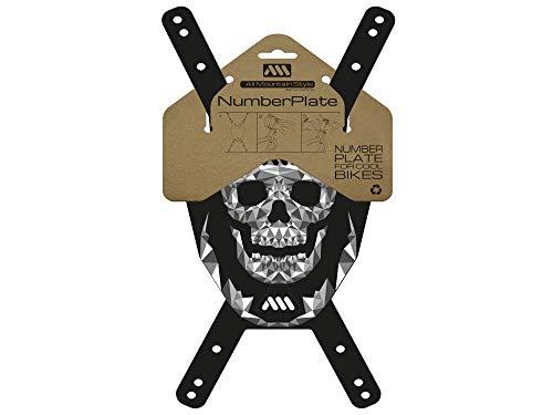 All Mountain Style número AMS Plaque de numéro (VTT), Mixte Adulte, Bleu (Crâne/Nero), Taille unique