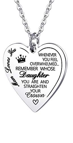 Daughter Crown Necklace Remember Whose Daughter You are and Straighten Your Crown Pendant Necklace from Mom Dad (Mom to Straighten Crown Daughter)