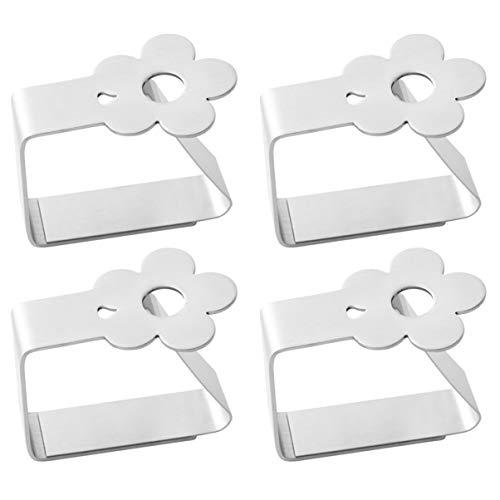 TOPBATHY 4 Stück Edelstahl Tischdeckenclips Klemmen Tischdeckenklemmen Tischklammern Tischdeckenhalter Abdeckungen (Blume)