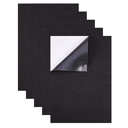BENECREAT 10 PCS Hojas Adhesiva de Goma Espuma Hoja de A4 Cortable Almohadilla Adhesiva de Espesor 1mm Antideslizante para Muebles y Manualidad 21x30cm Negra