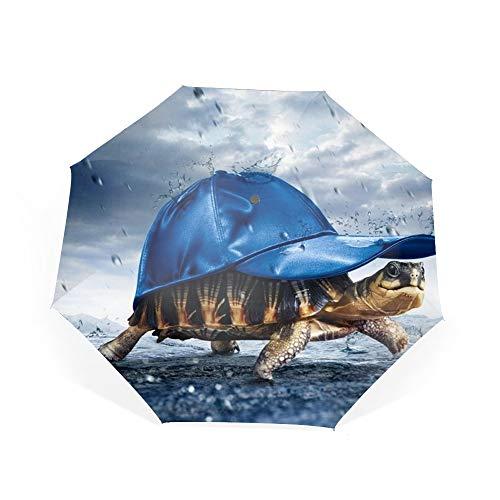 Artwork Rain Turtle Travel Umbrella with Windproof Double Canopy - Auto Open/Close Button