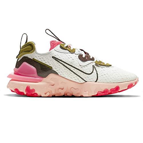 Nike W NSW React Vision, Zapatillas para Correr Mujer, Summit White Ironstone Siren Red Desert Moss Sunset Pulse Photon Dust, 41 EU