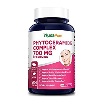 Phytoceramides Complex 700mg 200 Veggie Capsules  Non-GMO  Powerful Skin Repair & Rejuvenation - All Natural Plant Derived Anti-Aging Powerhouse for Reduced Fine Lines & Wrinkles