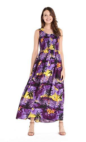 Women's Hawaiian Maxi Tank Elastic Luau Dress Sunset Purple