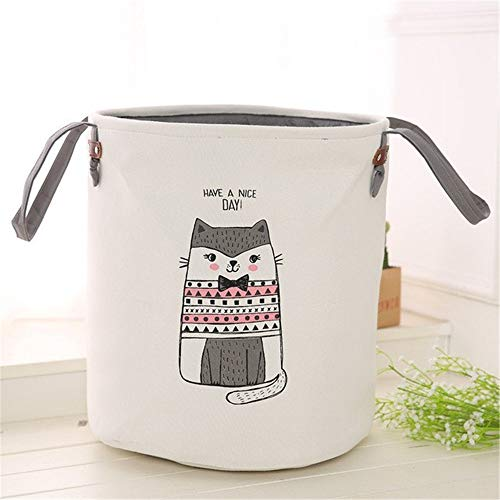 Cartoon Fabric Laundry Basket Bag Children Toy Round Storage Basket Folding Dirty Clothes Home Decoration Storage Tool (Color : 3)