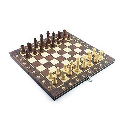 L.J.JZDY Schachbrett Schach Supermagnetische hölzerne Backgammon Checkers 3in1 Schachspiel Antike Schach Reise Pack Holzschachbrett (Color : Braun, Size : 29x29cm)
