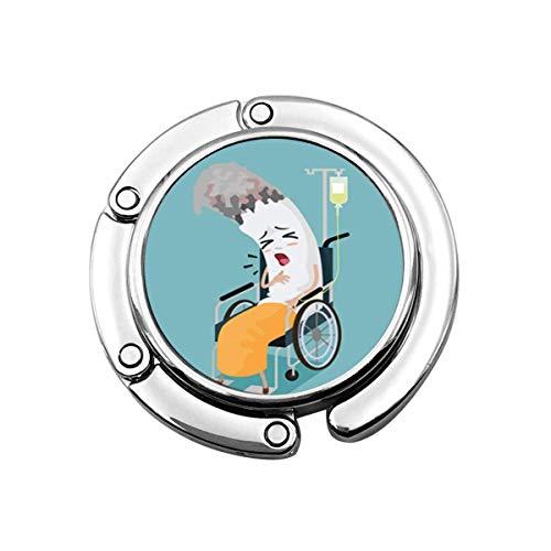 Nette Faltbare Geldbörse Kleiderbügel Geldbörse Haken Stuhl Zigarette Cartoon krank Sein und in Rollstuhl Behinderung Krankheit sitzen