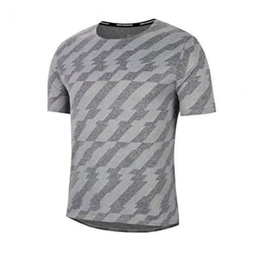NIKE Camiseta para Hombre DF Miler SS FF Jac Negro, Gris y Plateado Reflectante M