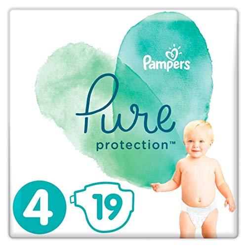 Pampers 4 pieluchy Pure Protection Baby pieluchy 19 sztuk, zestaw do noszenia, z bawełny premium i materiałów opartych na roślinach (9-14 kg)