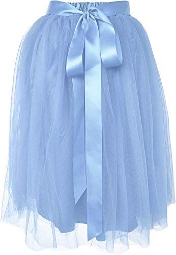 Dancina Women's Knee Length Tutu A Line Layered Tulle Skirt Plus (Size 12-24) Light Blue