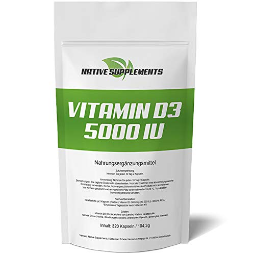 320 Kapseln Vitamin D3, 5000 I.E pro 5 Tagesdosis, Hochdosiert, Hohe Bioverfügbarkeit, Pharmaqualität, Großpackung