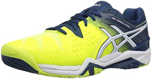 ASICS Men's Gel-Resolution 6 Tennis Shoe, Safety Yellow/White/Poseidon, 12.5 M US