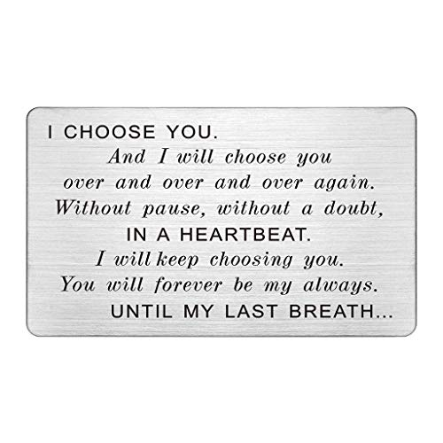 Engraved Wallet Card Insert Men, Anniversary Card Gifts for Husband, I Choose You, Gifts for Husband from Wife, Groom's Gifts for Men, Romantic Gifts for Him, Fathers Day