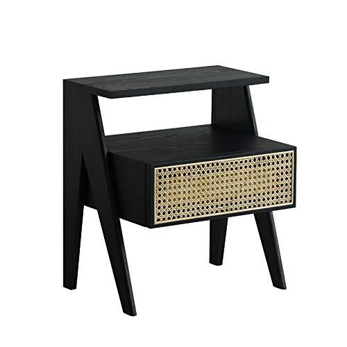 KAIBINY YY Louis Fashion Nightstands Home Moderno Simple Simple Diseño Original Dormitorio Rattan White Wax Wood Almacenamiento Doble Capa (Color : S1)