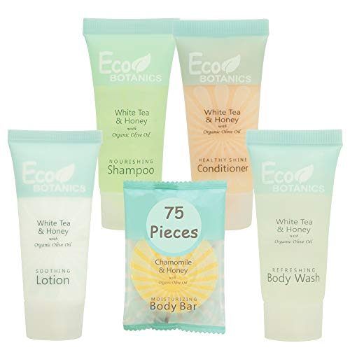 Eco Botanics Hotel Size Toiletries Set | 1-Shoppe All-In-Kit Shampoo and Conditioner, Body Wash, Lotion & Bar Soap | Amenities For Hotels & Airbnb | 75 Piece White Tea, Honey & Chamomile Travel Set