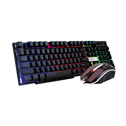 BaZhaHei LED Gaming Wired 2.4G Keyboard and Mouse Set to Computer Multimedia del Juego de Teclado LED (Teclado + Mouse) Combo Ratón y Teclado para Android/Windows/Mac/Linux y Otros