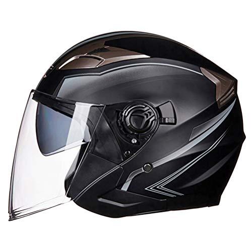 Flip Shield Visor para motocicleta Cascos de medio rostro abierto Moto ABS Seguridad eléctrica Lente doble Motociclista Scooter Casco de equitación