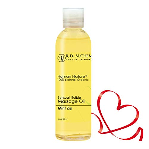 good massage oils 100% Natural & Organic Edible Massage Oil for Body. Best Massage Supply with Organic Essential Oils. Erotic Flavor: Mint Zip - Peppermint, Spearmint, and Lime Oils