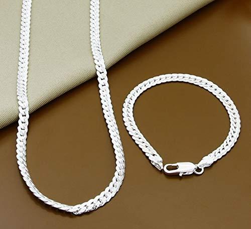 Bluesteer Conjuntos de Joyas de Plata de Ley 925 Conjuntos de aretes de Collar de Bola Redonda de Luna de Insecto Simple para Regalo de Mujer, 20