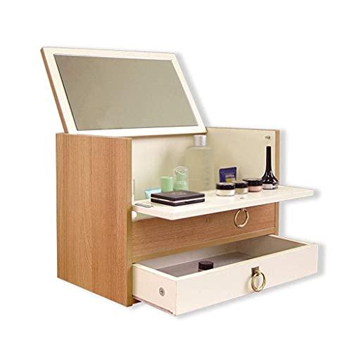 W-HUAJIA Caja de Almacenamiento Dormitorio Maquillaje Mesa Pequeño Apartamento Maquillaje Mueble Mini Dressador Simple Storage Box Bay Ventana Maquillaje Económico Mesa