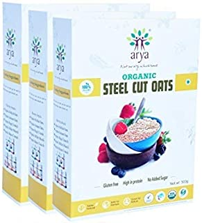 Arya Farm Certified Organic Steel Cut Oats Without Chemicals Preservatives 500g ( Pack of 3 )