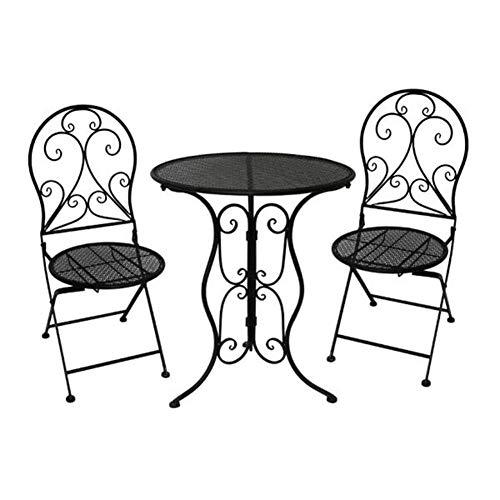 N/Z Tägliche Ausstattung Tische Klappstühle Rattan Look Möbel Bistro Set Außenterrasse Kaffeegarten Weiß