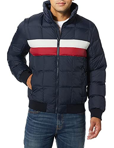 Tommy Hilfiger Men's Quilted Bomber Hoody Color Block, navy/white, Medium