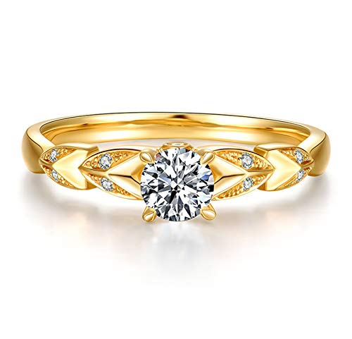 KnSam 18K Oro Amarillo Anillo, Anillo Solitario Oreja de Trigo Cuatro-Garra con Diamante, Diamante F-G, Color Oro - Talla 18,5