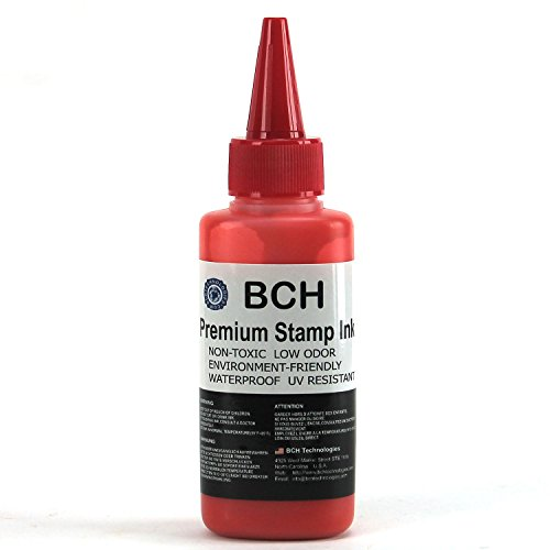 Red Stamp Ink Refill by BCH - Premium Grade - 2.5 oz (75 ml) Ink Per Bottle