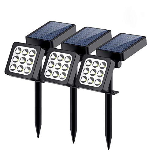 Solar Lights Outdoor, 9-LED Solar Spotlights - Waterproof Solar Wall Lights Solar Landscape Lights - Outdoor Solar Lights Dusk to Dawn Auto On/Off for Patio Lawn Pool Yard Garage Garden, Pack of 3