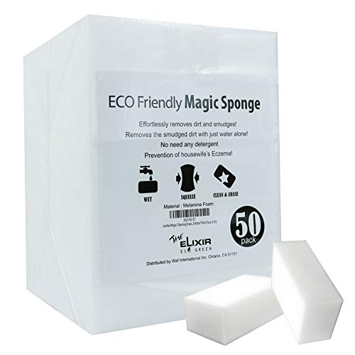 The Elixir Eco Green Jumbo Magic Cleaning Eraser Sponge Melamine Foam 3.5 x 2 x 1.5 inch Extra Thick (Pack of 50)