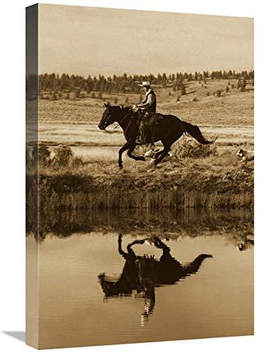 Global Gallery Caballo de Vaquero al Lado del Estanque con Dos Perros, Oregon – Lienzo artístico 16 x 24 Pulgadas