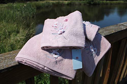 Juego de toallas TAC de 4 piezas, ducha absorbente premium y toalla de baño de algodón de secado rápido con motivos de flores de punto de calidad hecha en Turquía (Karina - Polvo) 50x90cm 85x150cm