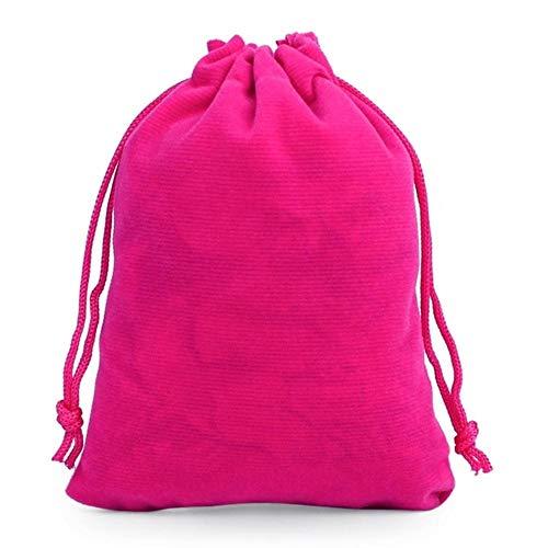 50 unids/Lote bolsita de Terciopelo con cordón 5x7 / 7x9 / 9x12 / 10x15cm Bolsas pequeñas Bolsas de Embalaje de exhibición de Regalo de joyería se Pueden Personalizar, Rosa roja, 5x7CM