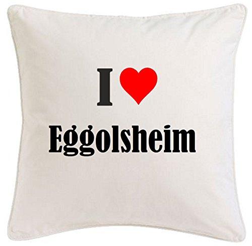 Kissenbezug I Love Eggolsheim 40cmx40cm aus Mikrofaser geschmackvolle Dekoration für jedes Wohnzimmer oder Schlafzimmer in Weiß mit Reißverschluss