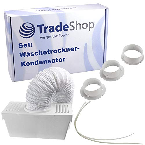 Wäschetrockner-Kondensator-Kit universal für viele Abluft-Wäschetrockner - Kondensator-Box, Metallkanal, 3x Anschluss-Adapter, Befestigungsschellen