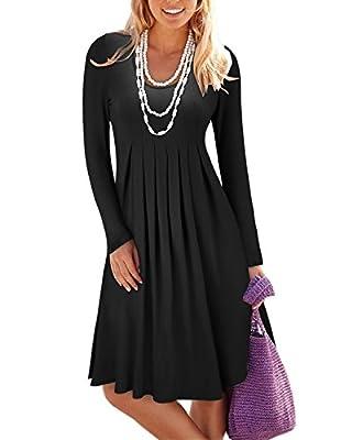 STYLEWORD Women's Long Sleeve Pleated Loose Swing Casual Dress