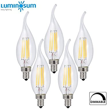 LUMINOSUM Dimmable LED Candelabra Bulb 4W, 40W Equivalent, Classic Edison style C35T Flame Tip, E12 Base, Soft White 2700K, 5-Pack
