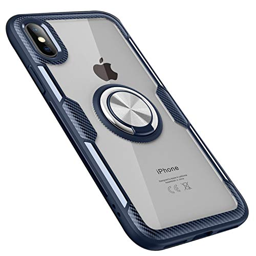 UNIYA Compatible with iPhone X/XS Case, Transparent PC+TPU with Magnetic Car Patch 360 Rotation Ring Holder Case (Navy Blue)
