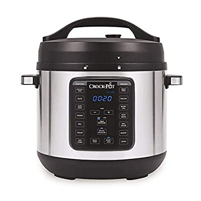 Crock-pot 8-Quart Multi-Use XL Express Crock Programmable Slow Cooker with Manual Pressure, Boil & Simmer, 8QT, Stainless Steel